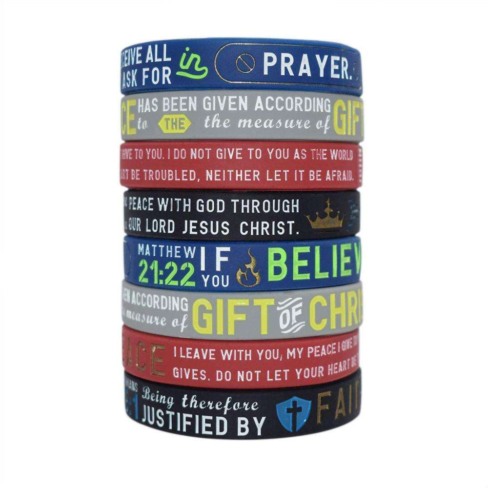 Power of Faith Bracelets, Silicone Bible Wristbands,