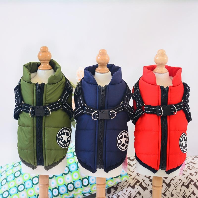 dog cotton-padded coat chest and back one-piece cotton vest pet clothes winter clothing thickened two-leg cotton-padded coat