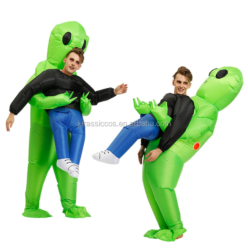 High Quality adult free size green alien inflatable costume Halloween screaming costume for cosplay