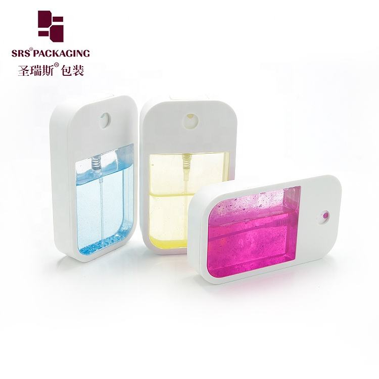 Wholesale pocket sized plastic perfume spray bottle empty 40ml square shape credit card perfume bottles