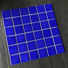 303x 303mm JBN Mosaic Tile Glazed Dark Blue Ceramic Non Slippery Swimming Pool Tile Standard Pool Mosaic with Net
