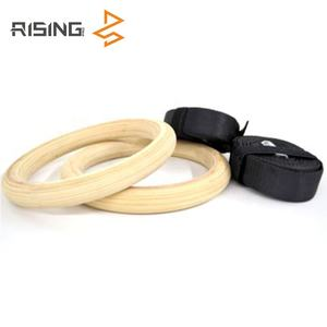 Gymnastics super wear resistance wood type gym ring wooden hanging rings