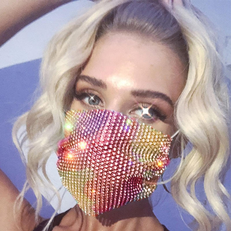 Fashion Rhinestone Party Jeweled Face Sequence Hotfix Transfer Grey Lips Feather Women Bling Masks