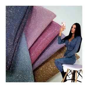 Glitter metallic fabric material supplier lame knitted pink glitter fabric for clothes textile with glitter clothing fabric
