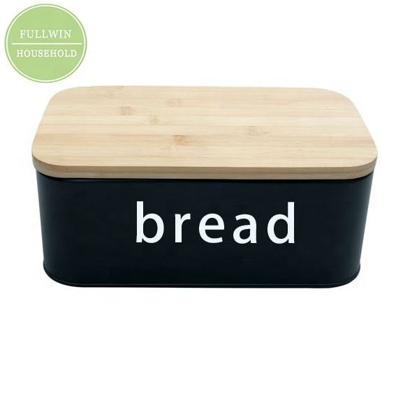 Hot Sell Vintage Metal galvanized bread box bin food storage container with metal lid for kitchen tableware