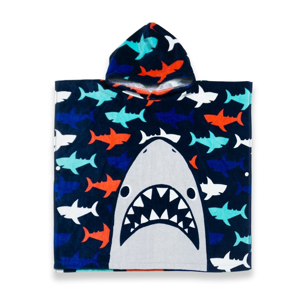 Premium Quality Velour Cotton Custom Design Poncho Kids Hooded Beach Towel