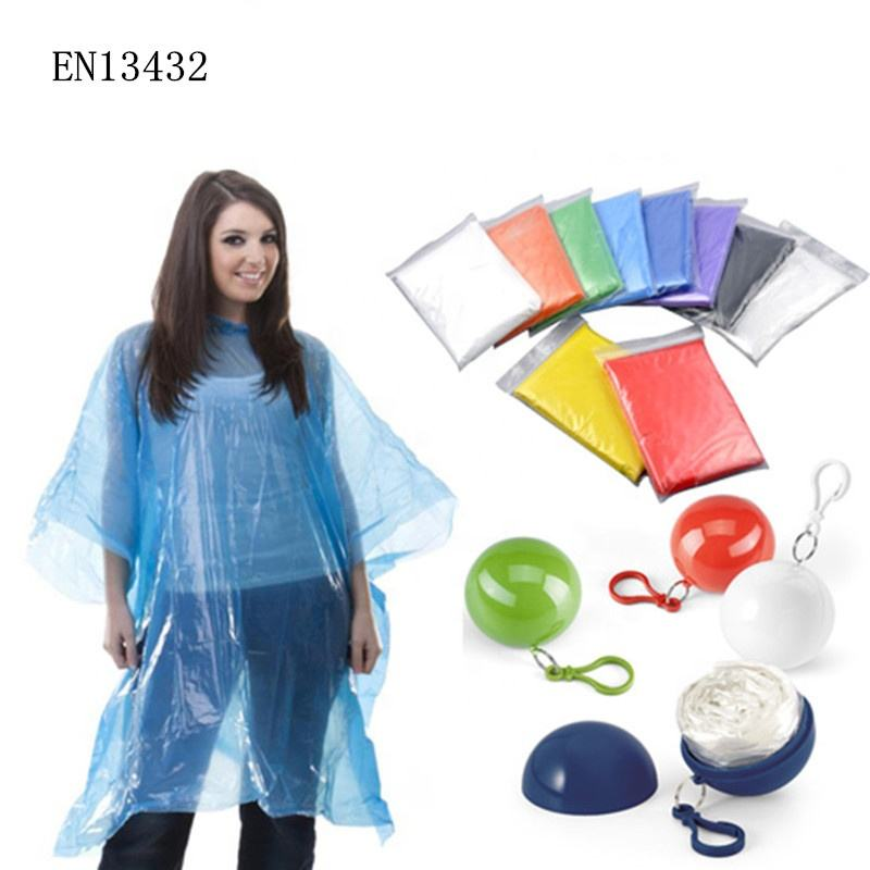 BSCI factory Wholesale Disposable Cheap Emergency Rain poncho/keychain ball Raincoat /rain coat