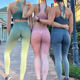 Fashion New Women Ombre Gym Sports Fitness Apparel Bras and Yoga Sets Fitness Gym Clothes