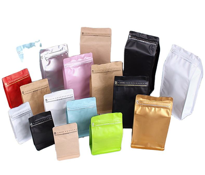 Coffee Seal Pouch Coffee Bag With Valve Custom Printed Quad Seal Square Coffee Beans Packaging Pouch Flat Block Box Bottom Bags With Air Valve