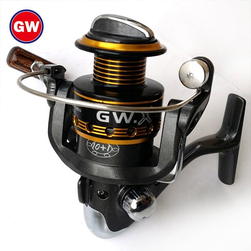 GW Fishing Line rollen 6.1:1 10 + 1BB Spinning Aluminium Carp Reel Made In China All Metal Bait Runner Fishing Reels 8000 Series