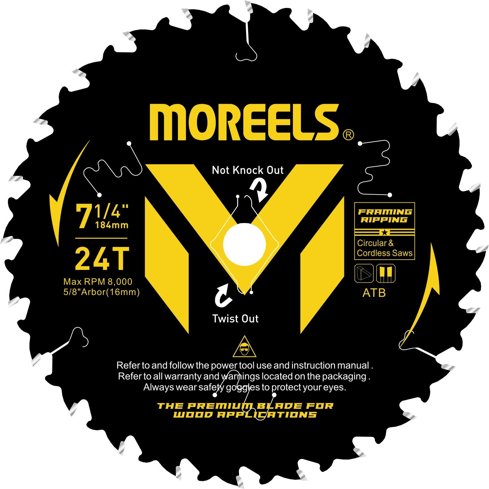 Moreels Carbide Tipped Saw Blade 7-1/4'' 24 Teeth High Performance Framing Ripping