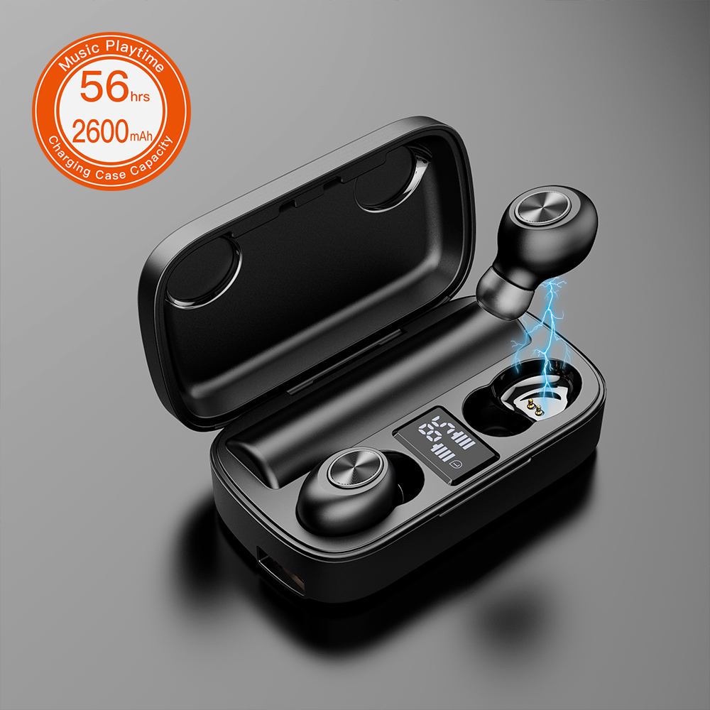 High End HiFi Stereo Music Handsfree Earphone TWS Wireless Earbuds with Charging Power Bank Case