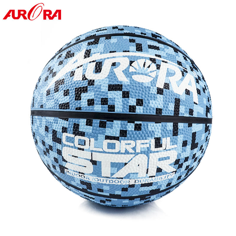 Top quality blue camouflage custom Rubber basketball Size 7 outdoor play ball