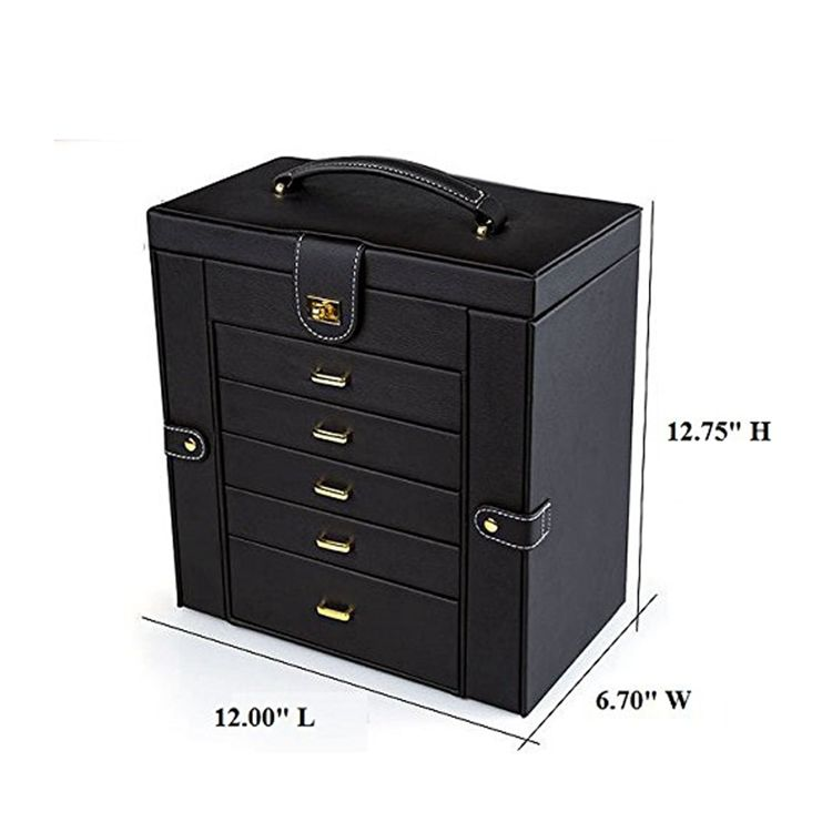 OEM/ODM Custom Multi-function 6 layers Large Pu Leather Magnetic Closure Jewelry Organizer Storage Box With Handle and Mirror