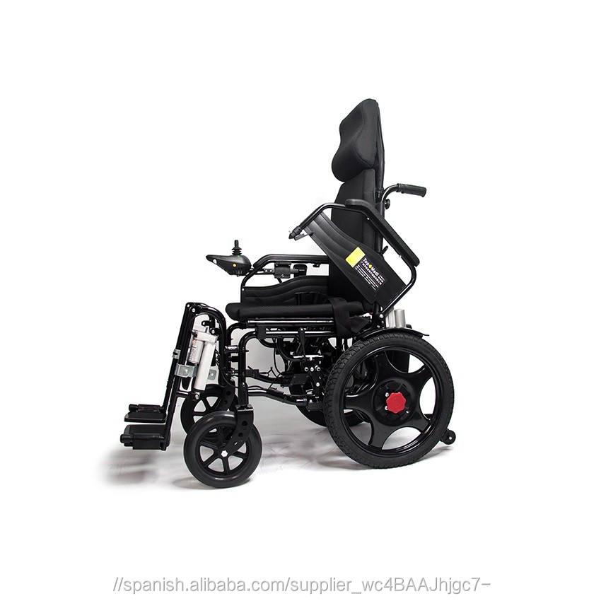 Engelli elektrikli tekerlekli sandalye flip-up ayak dayama ve yüksek sı<span class=keywords><strong>rt</strong></span> uzanmış.