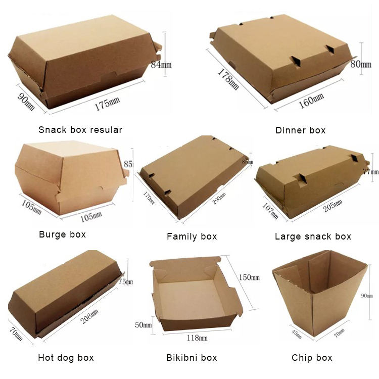 Manufacturer custom printed brown Kraft Paper burger box