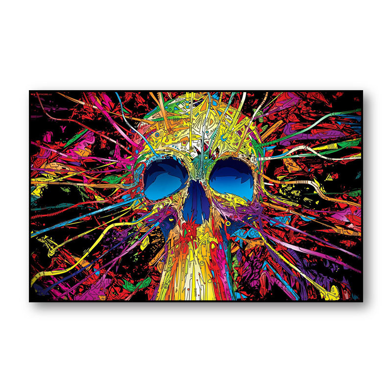 Modern Graffiti Giclees Prints Skeleton Canvas Painting Skull Wall Art Custom Framed Portrait Oil Painting Poster for home Dec