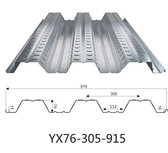 915 Floor Metal Decking Sheet Galvanized Corrugated Steel Deck for Steel Structure Building