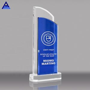 Wholesale High-Grade Crystal Glass Trophy Custom Blue Divine Duality Crystal Trophy For Awards