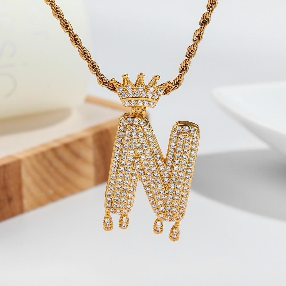 New RTS Crown Bail Drip Initials Bubble Letters Chain Necklaces & Pendant For Men Women Gold Color Cubic Zircon Hip Hop Jewelry