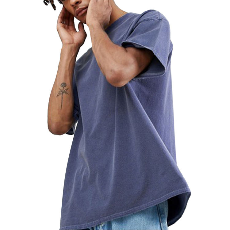Hui lin apparel men streetwear summer t shirt wholesale eco friendly vintage washed plain short sleeve oversized t shirt
