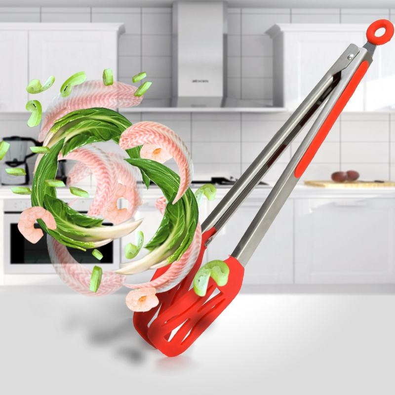 Stainless Steel Food Tongs with Silicone Flat Head And Safe Locking