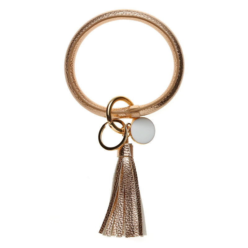 high quality gold leather key holder wristlet bangle keyholder personalized keychain bracelet key ring for girls