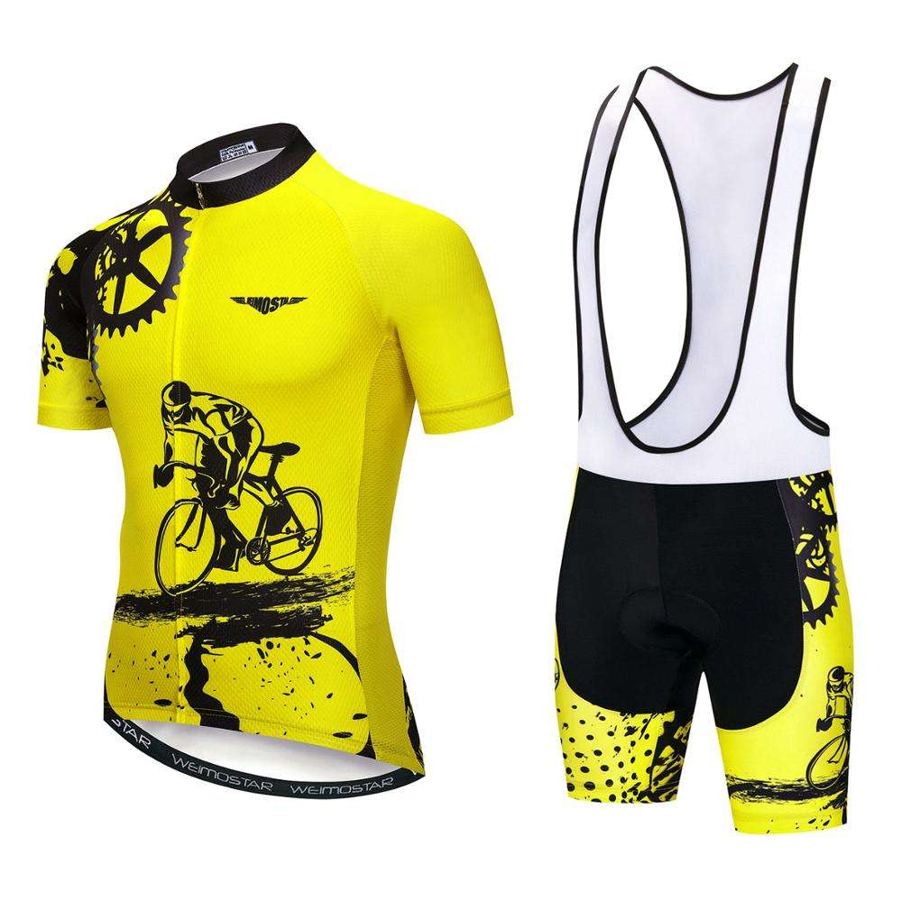 Custom Bicycle Shirts Bib Shorts Set Men Sport Bike Cycling Jersey Kit Cycling Clothing Suit Mtb Clothes Uniform Maillot Yellow