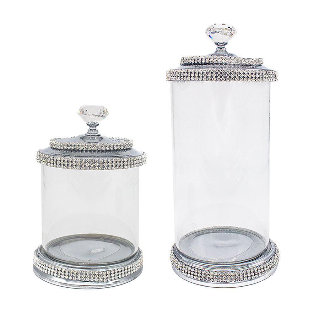 Glass Candy Jar Decorative Crystal Clear Round Custom Empty Cookie Storage Containers Cookie Glass Candy Jar With Metal Lid