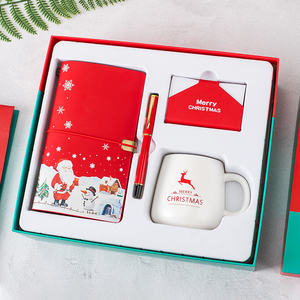 Business Christmas Gift Sets Pu Lederen A6 Vlakte Notebook + Pen + Mok + Kaarthouder Gift Set