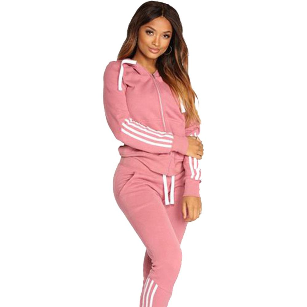 wholesale Sweat Suits Set Womens 2 Piece Sweatshirt & Sweatpants Full Zip Hoodie Tracksuits Sportswear Jogging Suits with Pocket