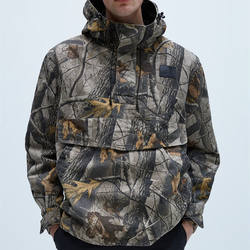wholesale New trendy mens flora printing High collar camouflage pouch pocket parka