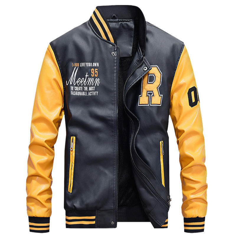 Men's Embroidery Baseball PU Jackets Coats Slim Fit Pilot Leather Jackets