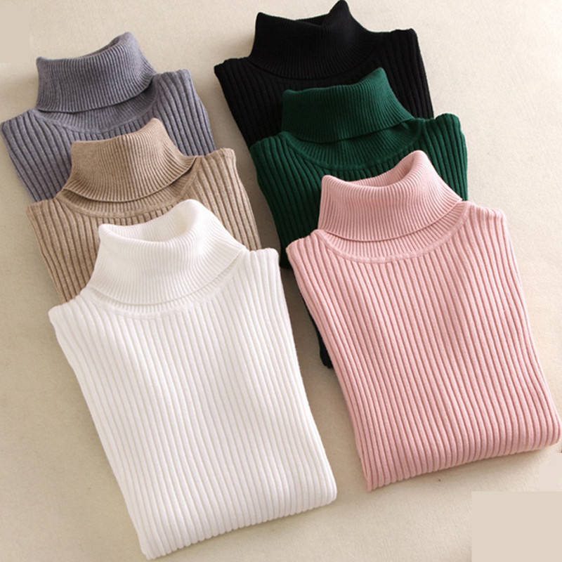 Women Knitted Turtleneck Sweater Soft polo-neck Jumper Slim Pullovers