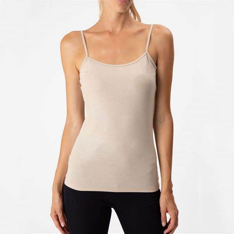 Wholesale Women Lady Breathable Solid Color 100% Cotton Vest O-Collar Sexy Seamless Sleeveless Camisole Tank Top For Women