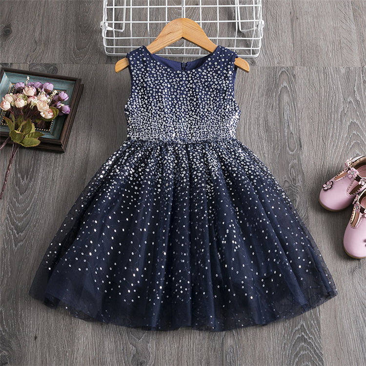HYZ23 Summer Beige Sleeveless Girls Dress Sequins Gradient Kids Princess Party Dress Tulle Ceremony Prom Gown Children dress