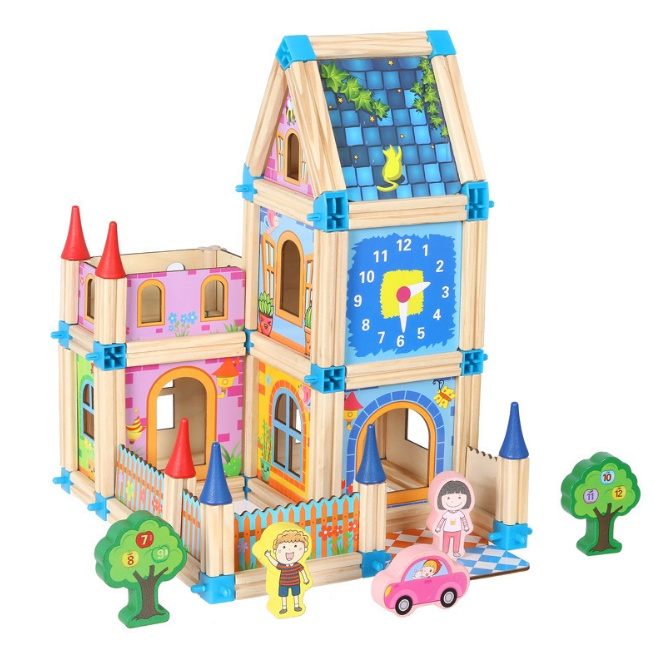 128pcs/268pcs Colorful building blocks sets for kids boys girls wooden toys assembly house castle building craft & art kit