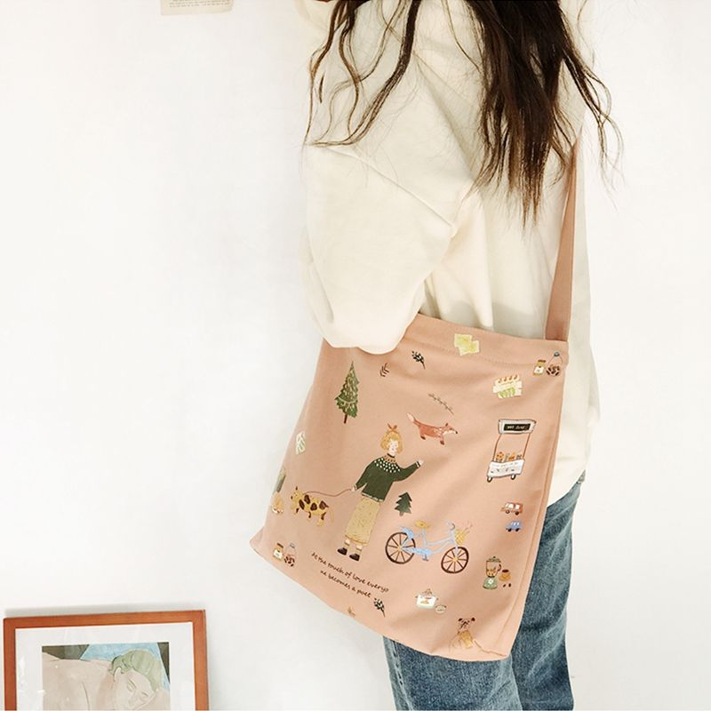 Simple and retro cartoon dog canvas bag gift shopping bag for promotion