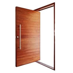 Front entry sapele solid wood glass panels pivot door with fixed door design