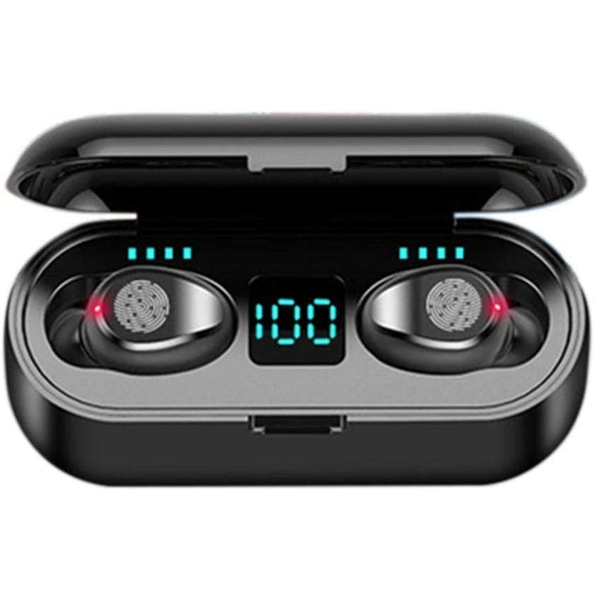 Hot selling F9 noise cancelling sport bluetooth wireless earbuds with 2000Mah power bank battery display mini bass earphone
