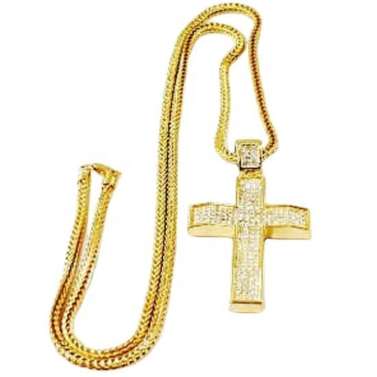 18 K 금 Plated HipHop 체인 Necklace Jewelry Cross 대 한 men
