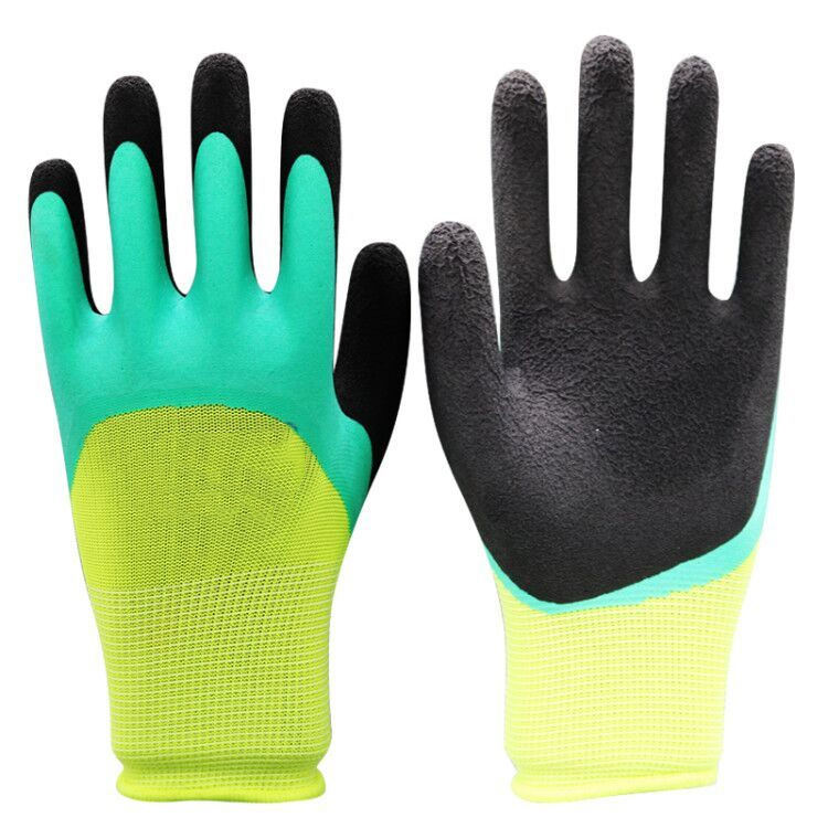 China supplies high quality breathable rubber yellow-green coated reinforced palm inexpensive safe working gloves