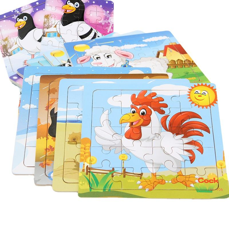 20 Pieces Wholesale Educational Play Toy Kids Wooden Animal Jigsaw Puzzle