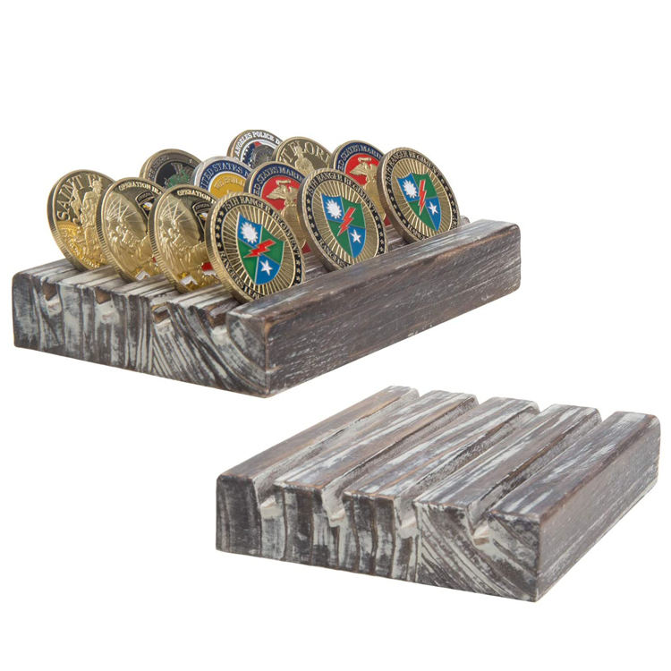 4-Row Torched Wood Military Challenge Coin Display Holder Stand, Set of 2