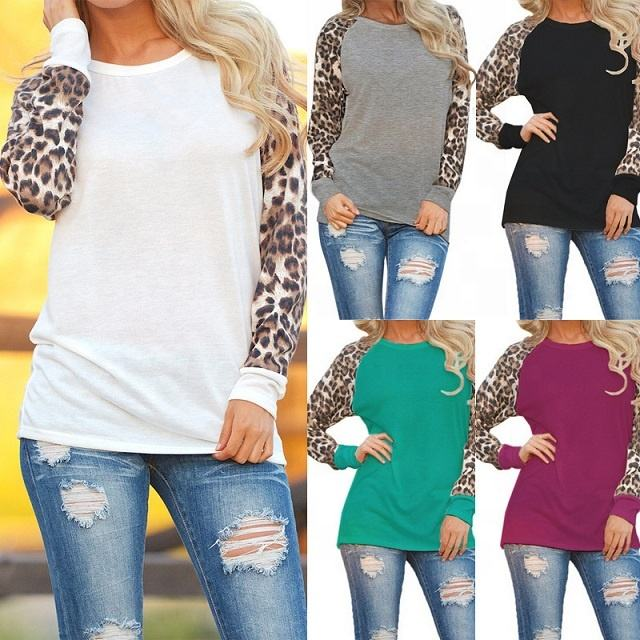 Wholesale Plus 5XL Spring Sublimate Long Sleeve Chiffon Leopard Blouse Top O Neck Knitted Leopard Raglan T-Shirts For Women