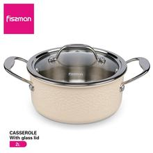 FISSMAN Hot Sale Eco-Friendly LFGB  18cm Induction 304 Stainless Steel Cookware Casserole With Glass Lid Soup Stock Pots