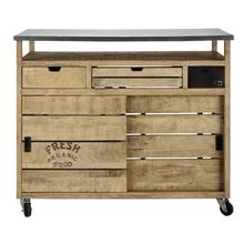 Rustic styled aara finish vintage industrial en bois/buffet cabinet with wine rack and wheels