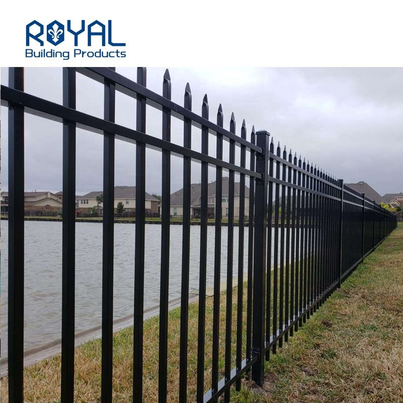 Powder coated decorative garden yard security spear black manufacture aluminum fence panels