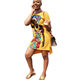 2020 New African Summer Women Wear Personality Printed Casual Tshirt Dress 9 Colors