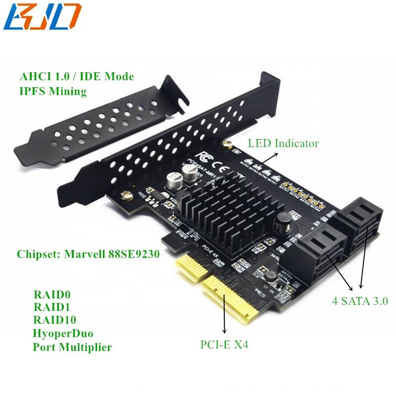 4 Port SATA 3.0 Host Controller Raid Card, PCIe PCI-E 4X SATA Expansion Card 6Gbps for IPFS Hard Disk Marvell 88SE9230
